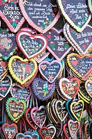 Large assortment of Gingerbread hearts, at Oktoberfest, Munich, Germany