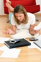 Woman doing home finances