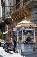 Italy, Sicily, Palermo, stand selling drinks and gelati