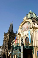 Czech Republic, Prague, historical centre listed as World Heritage by UNESCO, the old town Stare Mesto, municipal house Obecni dum and powder tower