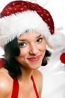 lachende Weihnachtsfrau