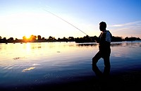 France, Deux Sevres, Moncoutant: Pescalis, International Nature and Fishing Center, fly fishing