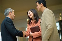 Businesswoman shaking hands with male colleague