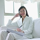 Businesswoman talking on a mobile phone