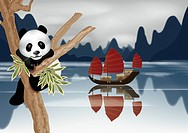 Panda on tree trunk with nautical vessel in background