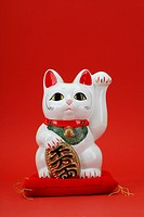 Beckoning cat on red background, close_up