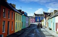 Painted houses in Eyeries, Beara peninsula, Co. Cork, Ireland, Europe