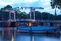 View at a bascule bridge at the river Vecht in the evening, Weesp, Netherlands, Europe