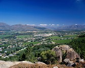 View across the landscape near Paarl, Western Cape, South Africa, Africa