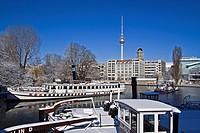 Old Harbour in winter, Heinrich Zille boat, Alex in winter, Berlin, Germany