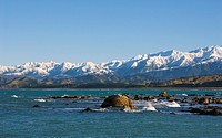 View of bay and mountain range, South Bay, Seaward Kaikoura Mountains, Kaikoura, South Island, New Zealand