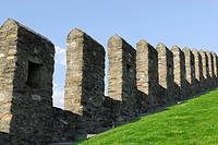 Defence walls of castle Castelgrande in UNESCO World Heritage Site Bellinzona, Bellinzona, Ticino, Switzerland