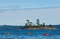 Recreational kayakers by Sidney Spit, Gulf Islands National Park Reserve, BC, Canada