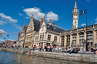 Belgium, Flanders, Ghent, Guild Houses and Leie River