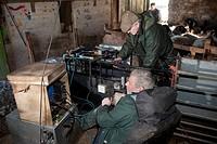 Sheep farming, shepherds scanning Swaledale ewes for pregnancy, Chipping, Lancashire, England