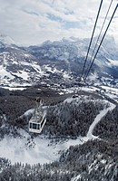 Cableway in the Alps Cortina Italy.