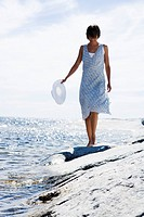 A Scandinavian woman in the archipelago Sweden.