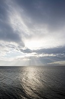 Sun over the ocean Oresund Sweden.