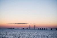 Oresundsbron in the sunset Sweden.