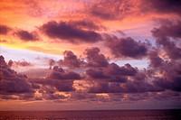 Sunset over the ocean, Bali.