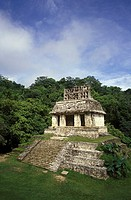 Temple of the Sun or Templo del Sol at the Mayan ruins of Palenque in Chiapas, Mexico