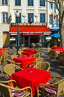 Restaurant terrace at Place d´Armes square in Ville de Luxembourg Europe