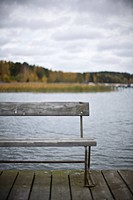 A bench on a jetty Sweden.