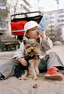 A child and a dog in a sandpit Sweden