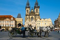 Horse carriage at Old Town Square in Prague Czech Republic Europe