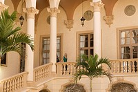 Woman standing in the balcony, Biltmore Hotel, Coral Gables, Florida, USA