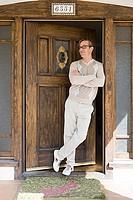 Man at front door