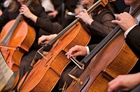 Anchorage Symphony Orchestra string section performs at the Performing Arts Center, Anchorage, Alaska