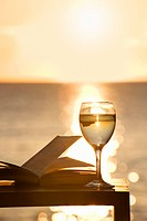 A book and glass of white wine at sunset
