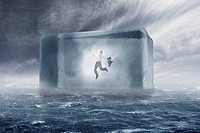 business man confined in cube on sea