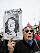 Families of the Disappeared shouting slogans during a rally to commemorate the 36th anniversary of the coup and death of President Salvador Allende, S...