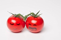 cherry tomatos with face, close_up