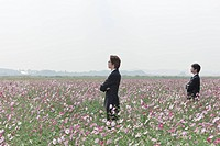 business colleague standing amongst cosmos flowers in field