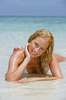 sexy young blond woman enjoying holiday in Thailand portrait