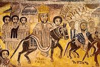 Ethiopia, Tigray, Gheralta cluster, Abreha Atsbeha church, Emperor Yohannes IV going into battle against the Egyptians