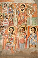Ethiopia, Lake Tana, Gorgora, Church of Debre Sina Maryam, 17th century paintings, Seated Jesus sending out the twelve disciples  Below, St Anthony is...