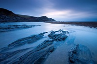Twilight on the shores of Crackington Haven, North Cornwall, England, United Kingdom, Europe