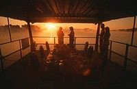 River safari at sunset, Zambezi River, Zimbabwe