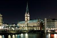 Germany, Hamburg, town_hall at night