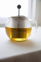 Chamomile Tea Steeping in Glass Pot