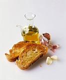 Toasted bread, olive oil and garlic