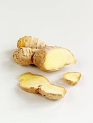Ginger root, partly sliced