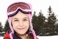 Close_up of girl wearing ski goggles, King City, Ontario