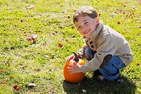 Young boy playing with pumpkin, Stayner, Ontario