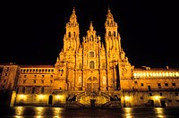 The cathedral of Santiago de Compostela is the destination of the important medieval pilgrimage route, the Way of St James. Galicia, spain