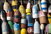 Lobster buoys hanging on a wall, Rockport, Essex County, Massachusetts, USA
